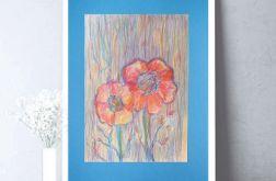 Rysunek z kwiatami na niebieskim tle nr 1