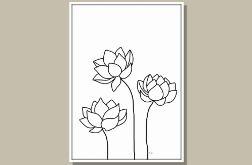 Grafika, kwiaty lotosu, minimalizm, nowoczesność