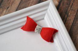 FairyBows SPINKA  kokardka  czerwona + srebro