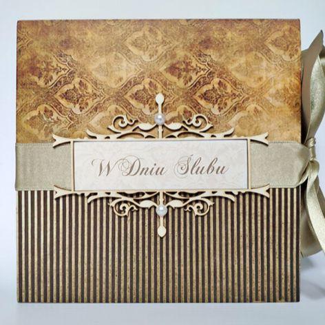 Kartka na ślub w złocie 01, prezent, pamiątka, pudełko