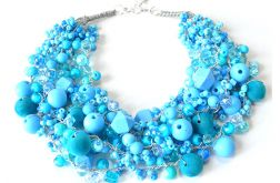 3897 błękitny naszyjnik kolia korale