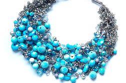 4594 naszyjnik kolia szary niebieski