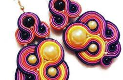 Kolczyki Soutache ze złotą perłą