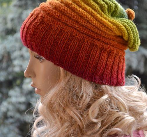 Tęczowa czapka beani