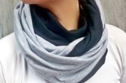 Komin szaro - czarny bawełniany damski