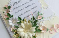 RÓż KrEM kartka ślubna w pudełku