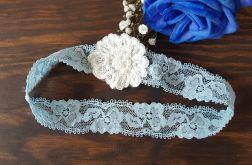 Niebieska Podwiązka ślubna błękitna