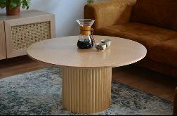 okrągły, ręcznie robiony stolik kawowy