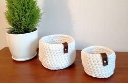 Koszyk ze sznurka bawełnianego biały L