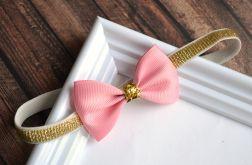 FairyBows * opaska KOKARDKA różowa + złoto