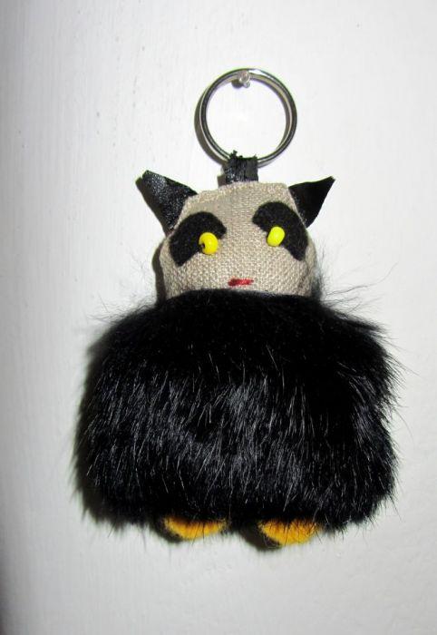 brelok czarny gruby kot