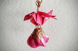 Kolczyki origami pink little bird