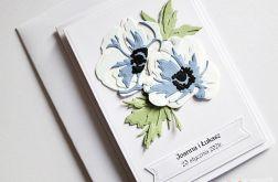 Kartka Ślubna - niebieskie anemony