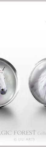 Biały koń - kolczyki wkrętki