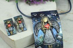 Anioł z serdem - kolczyki wkrętki i zawieszka
