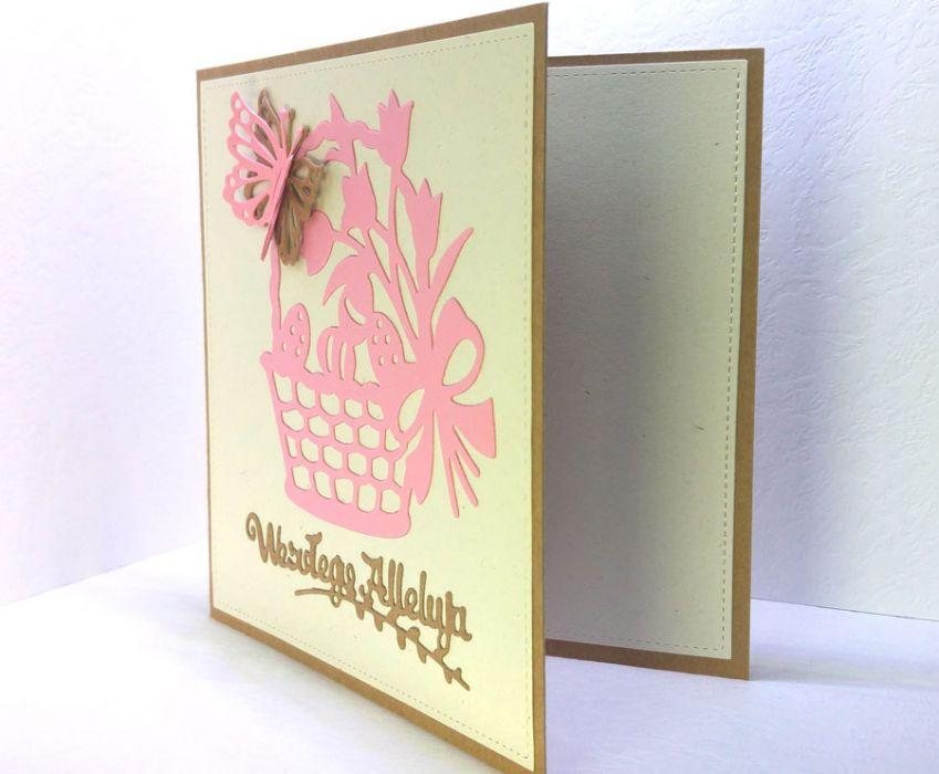 Kartka wielkanocna - różowy koszyczek  - do samodzielnego wypisania