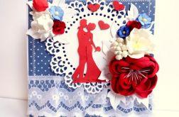 Kartka ślubna - biel, granat, czerwień