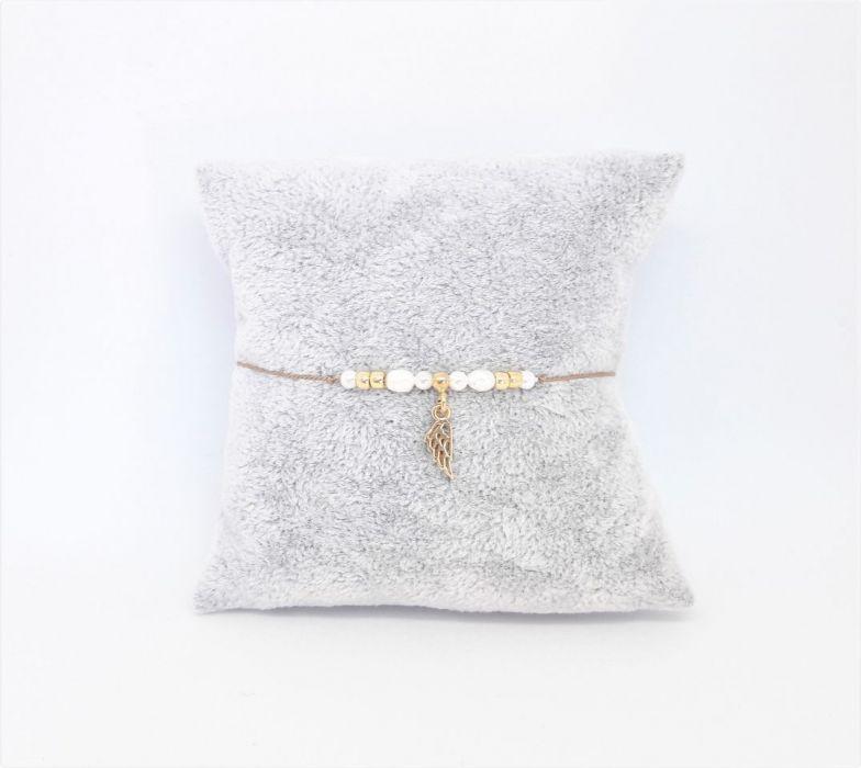 Bransoletka perły i srebro na nitce jedwabnej - Bransoletka na prezent dla mamy, żony, dziewczyny, narzeczonej, siostry, przyjaciółki