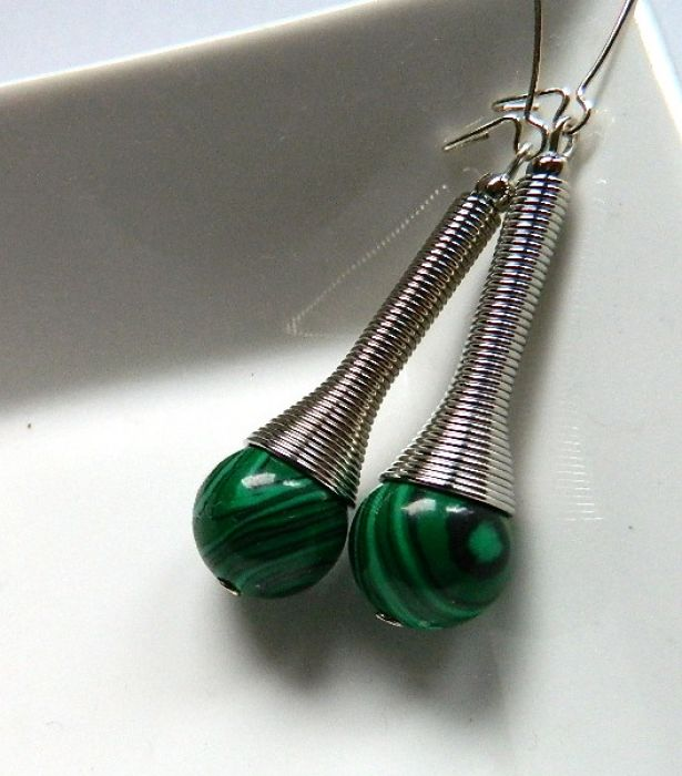 Malachit zielony,niezwykły naszyjnik, srebro