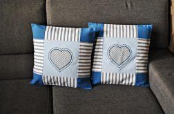 2 poszewki - patchworkowe z niebieskim sercem