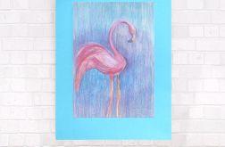 pastelowy rysunek z flamingiem, obraz flaming