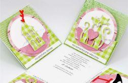 Ślubny exploding box zielono-różowy