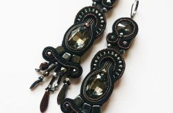 Długie,czarno-brązowe kolczyki z kryształkami