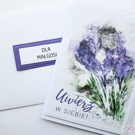 Kartka MOTYWACYJNA - fioletowe kwiaty