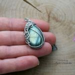 Wisiorek labradoryt, wire wrapping