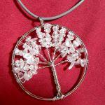 Drzewko z kryształem, wisior, wire wrapping