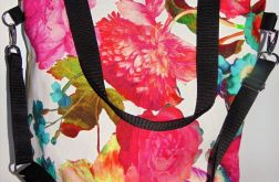 Torebka damska torba miejska kwiaty czerwone