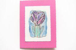 Kartka różowa z kwiatkiem nr 15