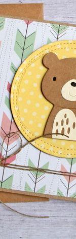 miś Bartuś kartka na roczek, narodziny