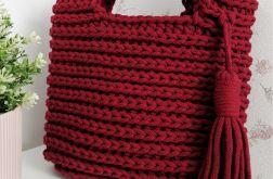 Torebka torba na szydełku torebka ze sznurka bordo