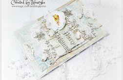 Kartka świąteczna śnieżne pastele