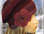 beret/ czapka  z różą 5