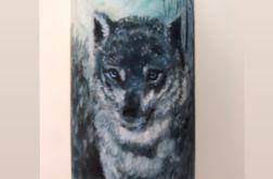 Świeca malowana ręcznie wilk