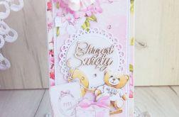 Kartka na chrzest Little Cuties róż GOTOWA