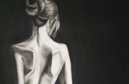 Kobieta z jabłkiem rysowana pastelami