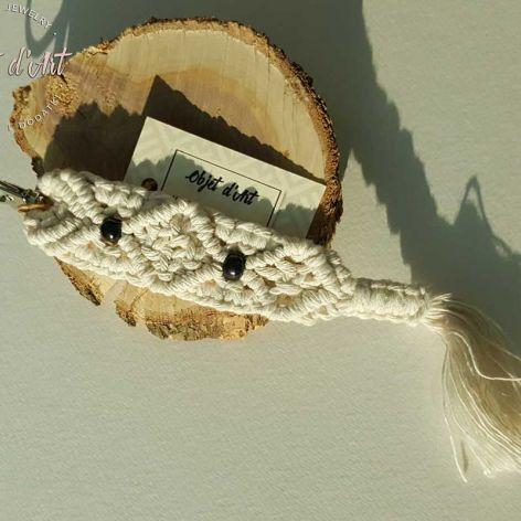 Brelok Bawełna Naturalna Makrama z Drewnem 2