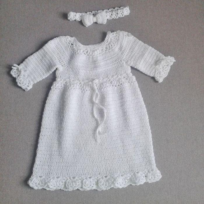 Biała sukienka z opaską bawełniana - sukienka i opaską