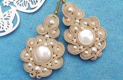 Kremowe Perły Seashell - kolczyki sutasz