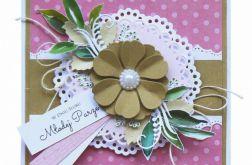 Kartka ślubna różowa z kwiatem