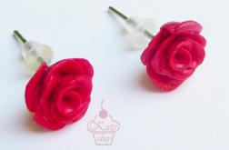 Kolczyki - wiśniowe różyczki