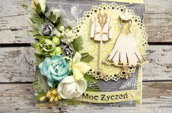Kartka ślubna - Szaro-żółta