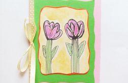 Kartka z kokardką i z kwiatkami nr 1