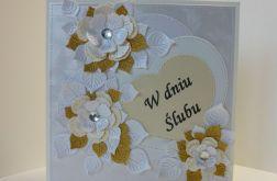 Kartka ślubna - W dniu Ślubu (złota)