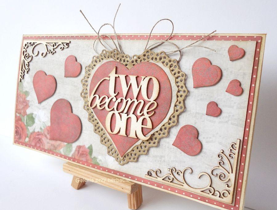 Kartka ślubne z serduszkami