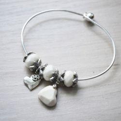 Zatopek bransoletka serce biała