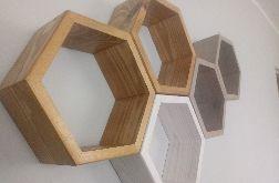 Półka drewniana ścienna heksagon plaster miodu